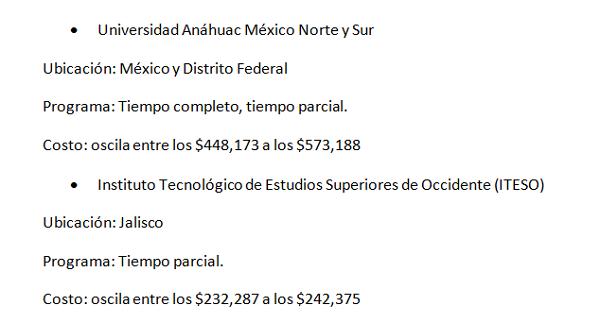Dónde puedo estudiar una Maestría en México