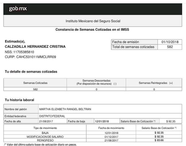 CONSTANCIA DE SEMANAS COTIZADAS DEL IMSS